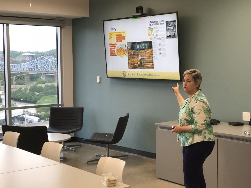 The president of the Ohio State Beekeepers Association presents as part of a workplace learning program.