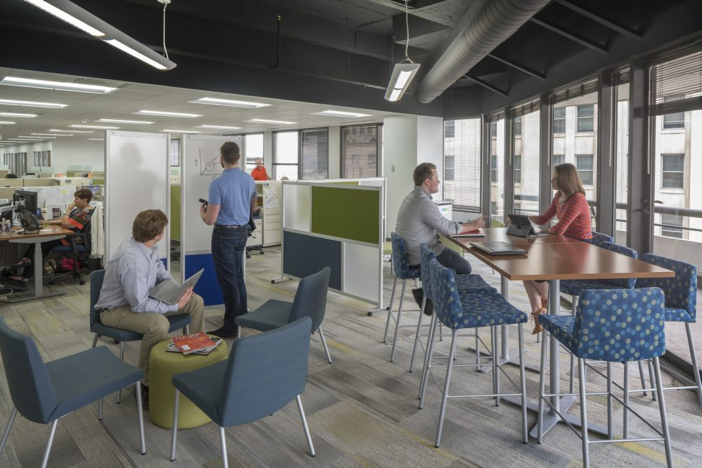 Flexible, open workplaces are designed for varying work styles of individuals in different departments.