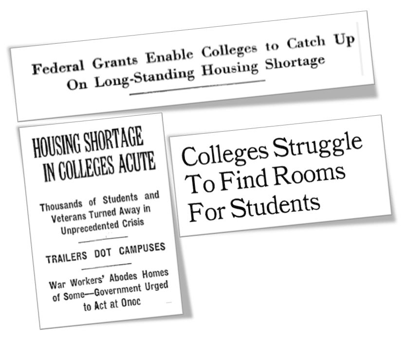 Historic newspaper clipping details overcrowded college dorms.
