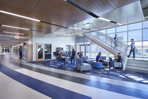 A bright, open central corridor and floor-to-ceiling windows are central to the award-winning interior design at Harrison Hills PK-12 school
